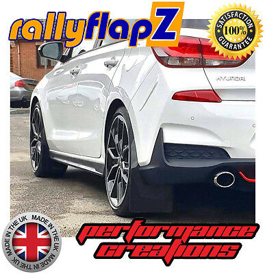 rallyflapZ to fit HYUNDAI i30N Mudflaps Set & Fixing Kit Black 4mm Flexible PVC