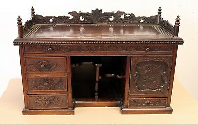 Antique Period Hardwood Chinese Gothic Dark Carved Wood Chest Cabinet