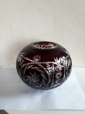 Art Deco Bohemian Czech Ruby Red Cut to Clear Crystal Glass Vase Shape of Orb
