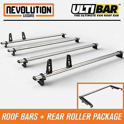 Van Guard ULTI Bar 2 Roof Bars and Rear Ladder Roller Kit for VW Crafter MWB, Low Roof 06-17