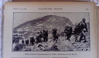 1904 Antique Tibet Print Younghusband ,Gurkhas on march from 'Black and White'