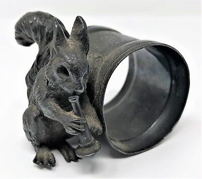 Antique Squirrel With Horn Silver Plate Figural Napkin Ring Meriden B 281 RCP