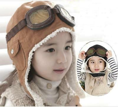 Kids Children Boy Girl Aviator Pilot Hat Winter Warm Cute Beanie Ear Flaps SW