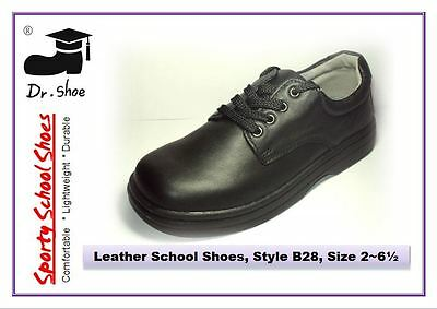 School Shoes Dr.Shoe Black Genuine Leather Boys Girls Laces Junior Sz 6