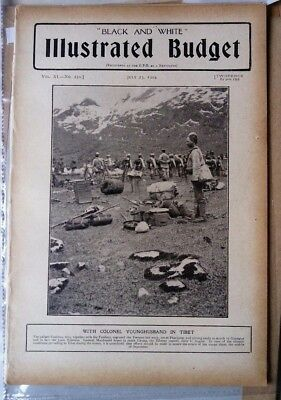 1904 Antique Tibet Print Youghusband in Tibet,Gurkhas,from the 'Black and White'