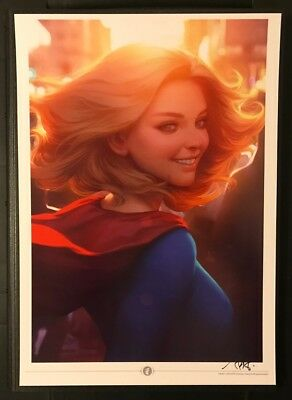 """2018 NYCC Supergirl Print by Stanley """"Artgerm' Lau 11.7x16.5(A3) Signed"""