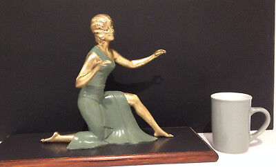 Lovely Antique  Figurine Green Gilt ballesteVintage Large Spelter
