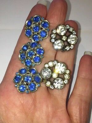 Great Lot Of 5 Vintage Metal Buttons With Blue & Clear Rhinestones