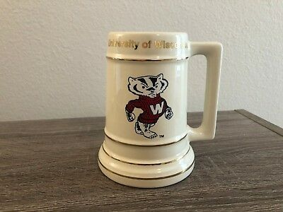 Vintage University of Wisconsin Beer Stein with Bucky the Badger (free shipping)