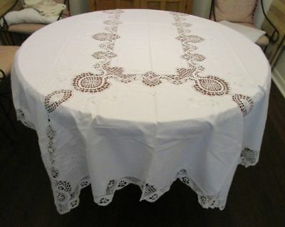 Vintage White Work/Cluny Lace Tablecloth/12 Napkins 68x102