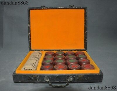 """12""""Antique old Chinese Redwood wood Hand carved Play chess Chinese chess Box Set"""