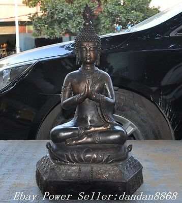 Old Thai fane Joss Bronze Gilt sleep Buddha Thailand meditation Sakyamuni Statue