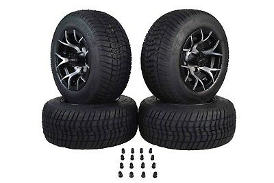 "Yamaha 18"" MASSFX Black Pit Viper Golf Cart 205/50-10 Tire Wheel Kit 10x7 4 Rims"