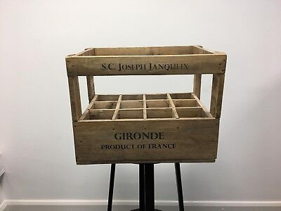 Used Vintage Style Wooden Wine Storage Crate