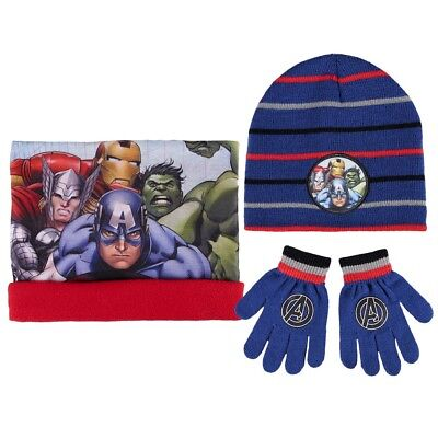 Winter Set Kinder 3 tlg. Mütze Bandana Handschuhe Marvel Avengers Superhelden