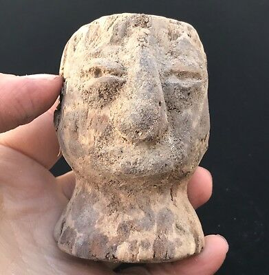 Very Rare Ancient Old Bactrian Face Ground Digeing Wood Head Statue 2nd CB
