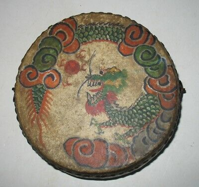 Antique Old Chinese Tom Tom Drum Hand Painted Dragon Rooster Asian
