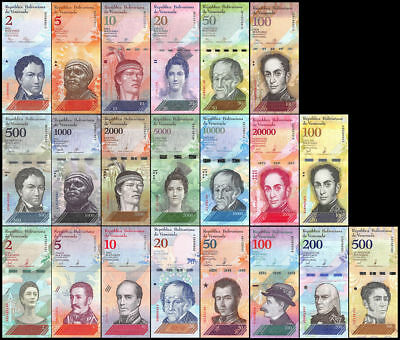 Venezuela Set 21 Pcs 2 - 1000000 & 2 - 500 Bolivares Soberanos 2018 Unc Offer!!!