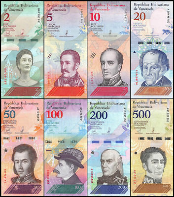Venezuela Set 8 Pcs 2 5 10 20 50 100 200 500 Bolivares Soberanos 2018 Unc Offer!