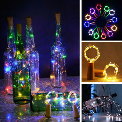 1-10PCS 20 LED Wine Bottle Corks Stopper Fairy String Lights Copper Wire 2M UK F