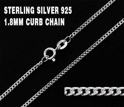 """Sterling Silver 1.8mm CURB Chain Necklace 925 Italy 16, 18, 20, 22, 24"""", 30"""" NEW"""