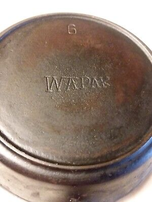 Wapak cast iron skillet #6 with old wooden handle, rare find