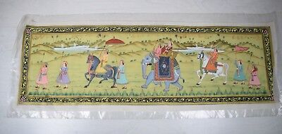 Antique Hand Painted Mughal Empire Art Painting Horse Indian Emperor Elephant