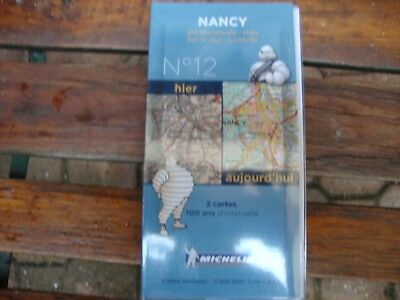 """2 cartes MICHELIN collection """" 100 ans d'intervalle """" NANCY N° 12"""