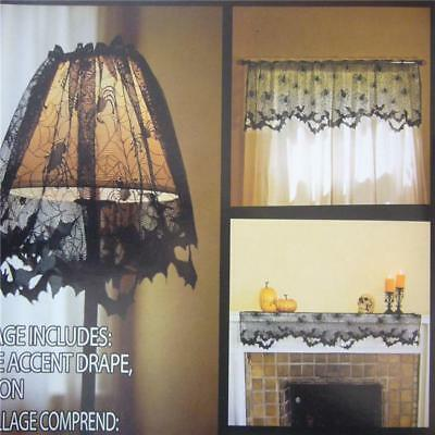 Black Lace Spider Web Table Runner Tablecloth Halloween Party Table Cover DD