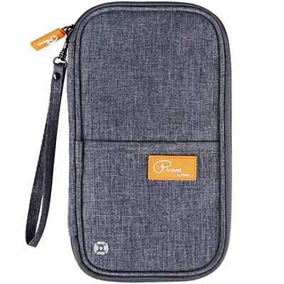 Passport Wallet Multiple Family Passport Holder Travel Document Organizer Gray