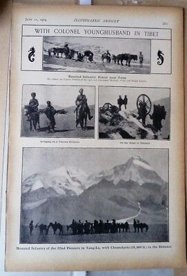 1904 Antique Tibet Print Younghusband Infantry patrol from the 'Black and White'