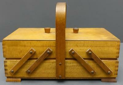 Vintage Wood Sewing Box Accordion Fold Out Basket Organizer Made in Poland