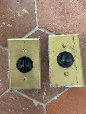 2 Vtg Brass Electrical Coverplates Outlet Round Single