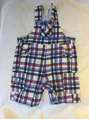 Jojo Maman Bebe dungarees, 3-6 months, boys, blue, white, red, shorts