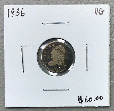 1836 U.s. Silver Capped Bust Half Dime ~ Vg Condition! $2.95 Max Shipping! C1045