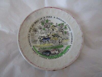 19th Century ABC Plate Franklin's Proverb Horse Drawn Wagon