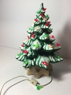 Vintage 13 Ceramic Light Up Christmas Tree With Base Very Colorful