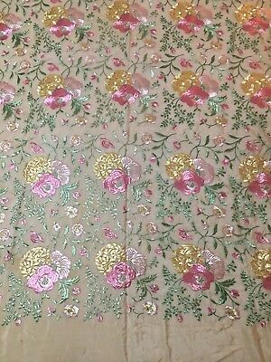 Vintage Piano Shawl Scarf Embroidered Fringed, Early 1900s Possibly, Very Pretty
