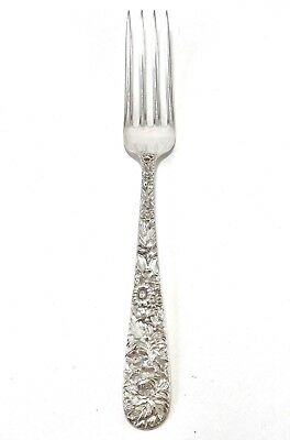 S Kirk & Son 925 Sterling Silver Repousse Dinner Fork 7 1/4 luncheon Free Ship