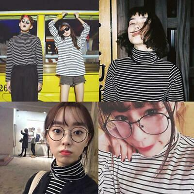Women Long Sleeve Striped Print T-Shirt Turtleneck Pullovers Tops Tee DD