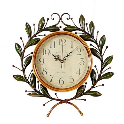 European Wrought Iron Olive Branch Wall Clock Stylish Pastoral Silent Wall Clock