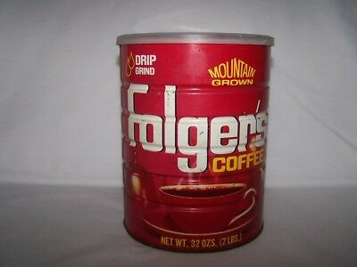 Vintage Folgers Full Sealed Coffee 32 oz Can FREE SHIP Drip Grind Mountain 2 lbs