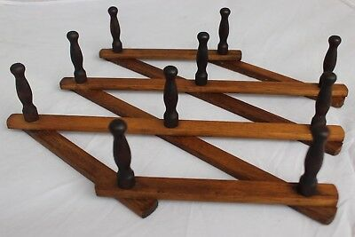 Wooden Wall Accordion 10 Peg Coat Hanger Hat Rack | Vintage