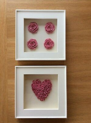 2 NEXT box frame pictures pink heart/roses in cream frame used