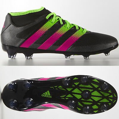 new style c56ed bc594 adidas Ace 16.2 Primemesh FG AG Mens Football Boots Black Pink ~ RRP £110 ~