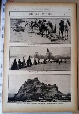 1904 Antique Print Tibet Younghusband the war in Tibet from the 'Black & White'