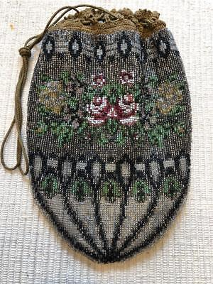 Antique Victorian Micro Bead Beaded Purse Drawstring Bag With Roses