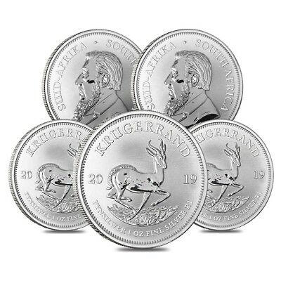Lot of 5 - 2019 South Africa 1 oz Silver Krugerrand BU