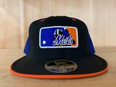 911dfa0a VINTAGE NEW ERA New York Mets Fitted Hat Cap Black Orange Blue Size 7-8