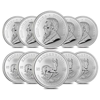 Lot of 10 - 2019 South Africa 1 oz Silver Krugerrand BU
